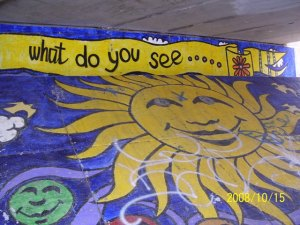 Painted under an overpass alone the Kalamazoo River