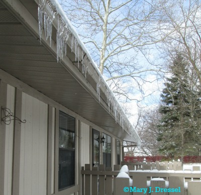 The icicles remind me of Christmas icicles lights.