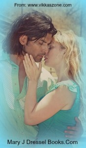male and female couple, teal tops on both, blonde woman, dark hair handsome man embracing