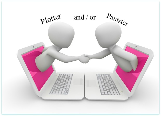 Mary J McCoy-Dressel, blog post image with text plotter and or pantster, two cartoon characters, shaking hands while half body out of computer screen, Marketing for Romance Writers 52 week blog challenge post featured image