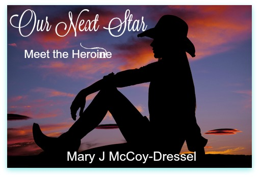 sunset sky, silhouette of cowgirl sitting, knee up, arm leaning over knee, Mary J McCoy-Dressel, western romance Blog post Meet the Heroine series