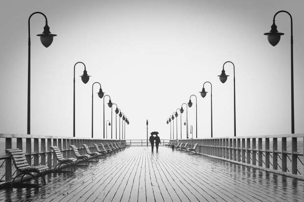 black and white, pier, in the distance, a couple walking on the pier hand in hand, Mary J McCoy-Dressel, blog post week 23 true love
