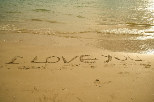 Sand Writing I love you, Mary J McCoy-Dressel, seasoned romance blog post,