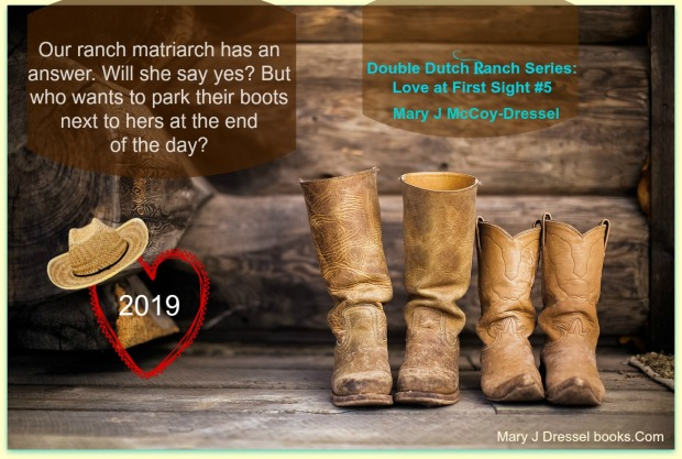 man and woman's tan cowboy boots, sitting in barn background, Mary J McCoy-Dressel, website image, Double Dutch Ranch Series: Love at First Sight website