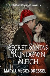 Mary J McCoy-Dressel, Secret Santa's Rundown Sleigh A holiday romance novella, New Release, Book Cover man and woman embraced at dark with snow falling, blog post Mighty Mac the Mackinac Bridge