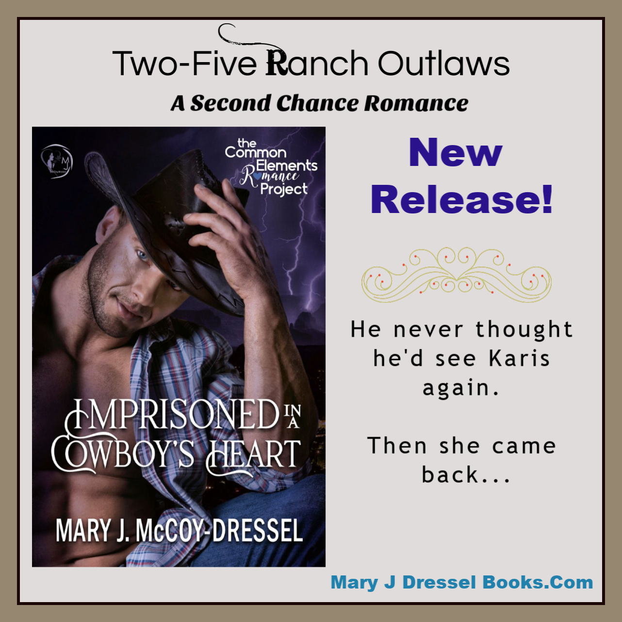 contemporary western romance, Mary J McCoy-Dressel, Two-Five Ranch Outlaws Book 1,