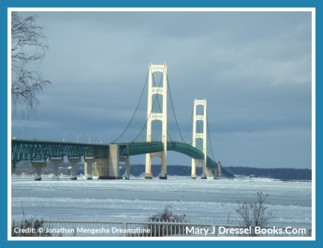 Mackinac Bridge, Northern Michigan, snow, ice, winter in Michigan, Mary J McCoy-Dressel