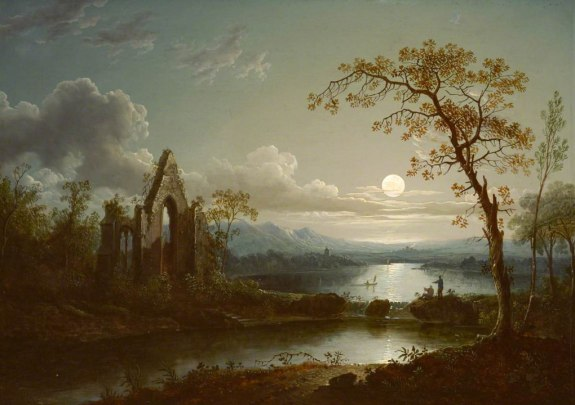 Moonlit Landscape with a Gothic Ruin Sebastian_Pether_1810-1844 Wikipedia